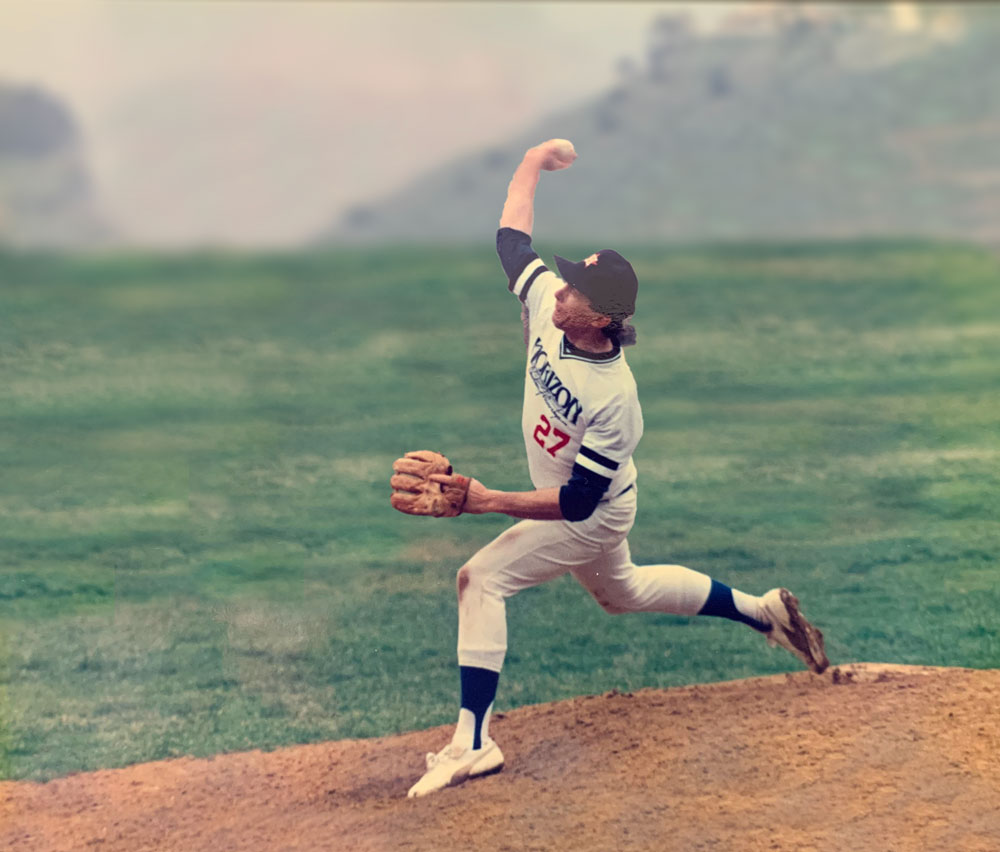 Roland Colton, at age 39, pitching in a California semi-pro league game.